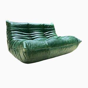 Sofá Togo vintage de cuero verde de Michel Ducaroy para Ligne Roset, años 70