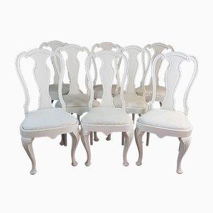 Schwedische Rokoko Esszimmerstühle mit weißem Anstrich, 1920er, 8er Set