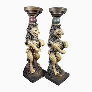 Antique Style Painted Plaster Lion Columns, 1980s, Set of 2