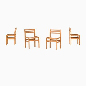 Vintage Pine Dining Chairs, Set of 4