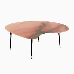 Pink and Green Marble Topped Coffee Table, 1950s