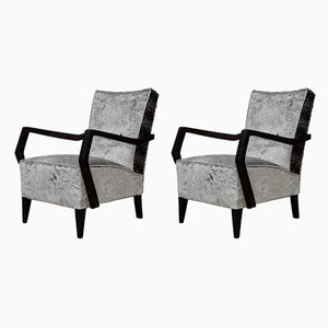 Italian Beech and Velvet Armchairs, 1950s, Set of 2