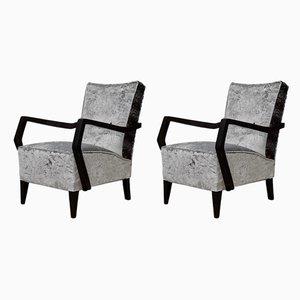 Italian Beech and Velvet Armchairs, 1950s, Set of 2