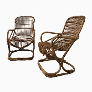 Mid-Century Italian Wicker and Cane Armchairs, Set of 2