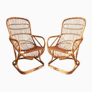 Italienische Mid-Century Sessel aus Korbgeflecht, 2er Set
