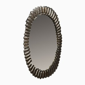 Oval Murano Glass and Brass Wall Mirror, 1950s