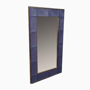 Specchio da parete in vetro artistico blu chiaro, anni '70