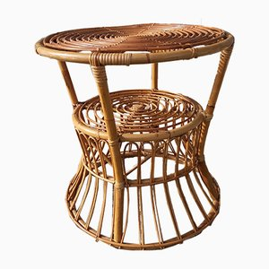 Italian Wicker & Cane Coffee Table by Lio Carminati for Pierantonio Bonacina, 1950s