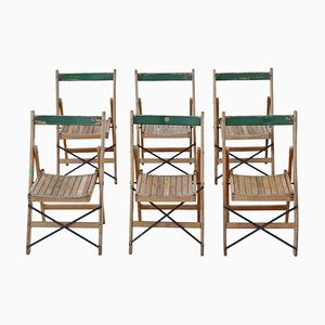 Beech Folding Kitchen Chairs, 1950s, Set of 6