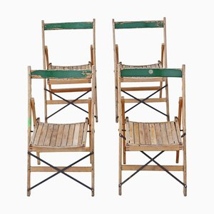 Beech Folding Kitchen Chairs, 1950s, Set of 4
