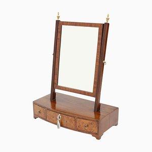 Specchio da toeletta antico in mogano e noce