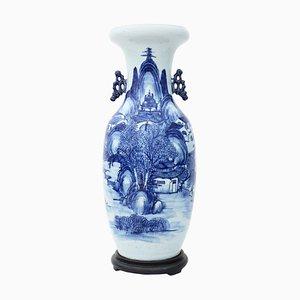 Jarrón chino azul y blanco, siglo XIX