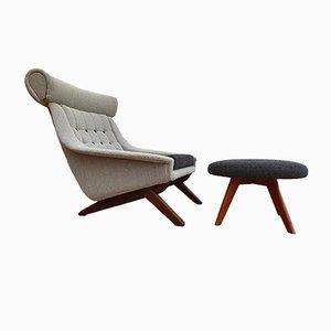 Dänischer Vintage Set mit Sessel und Fußhocker aus Teak & Wolle von Illum Wikkelsø, 1960er