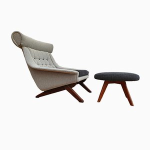 Vintage Danish Teak & Wool Lounge Chair with Ottoman Set by Illum Wikkelsø, 1960s