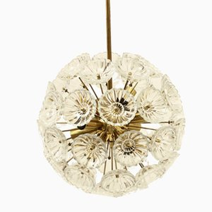 Glass and Brass Dandelion Sputnik Chandelier, 1970s