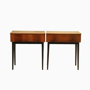 Vintage Wooden Bedside Tables by Jindřich Halabala for UP Závody, 1950s, Set of 2