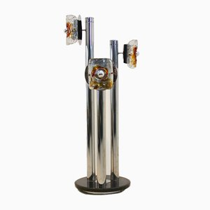 Lámpara de pie italiana de cromo, mármol y cristal de Murano de Toni Zuccheri para VeArt, años 70