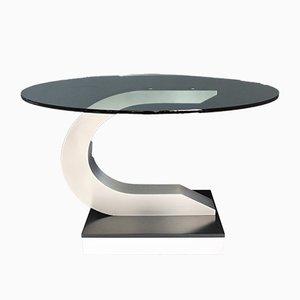Mesa de comedor de acero inoxidable y cristal, años 70