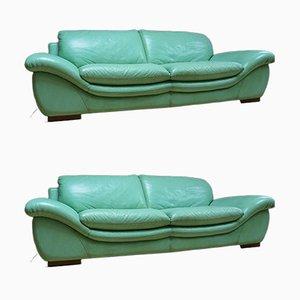 Vintage Mint Green Leather Sofas, Set of 2