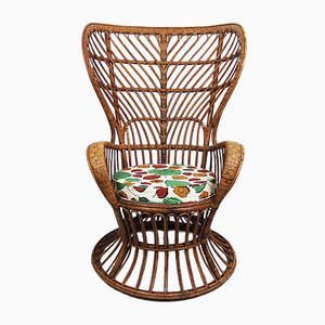 Rattan Lounge Chair by Lio Carminati for Bonacina, 1950s