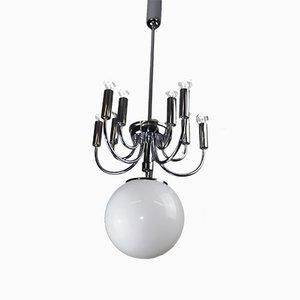 Lámpara de araña de vidrio opalino, años 20