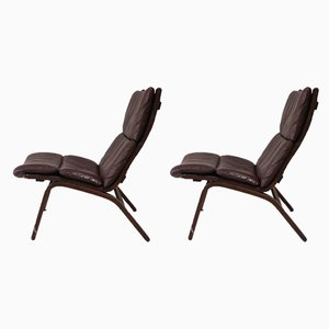 Vintage Danish Leather Lounge Chairs from Farstrup Møbler, Set of 2