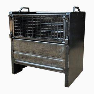 Juego de armarios apilables industriales de hierro, años 50