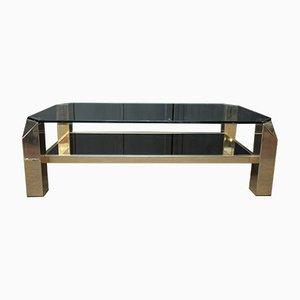 Mesa de centro vintage de metal dorado y vidrio de Belgo Chrom