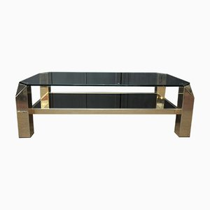 Vintage Golden Metal & Glass Coffee Table from Belgo Chrom