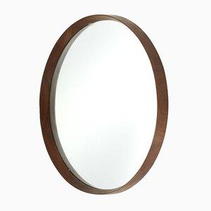 Espejo Mid-Century redondo de madera, años 60