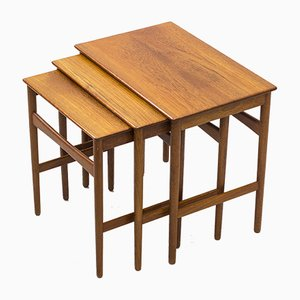 Danish AT-40 Nesting Tables by Hans J. Wegner for Andreas Tuck, 1960s