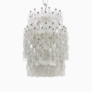 Large Poliedri Chandelier by Carlo Scarpa for Venini, 1960s