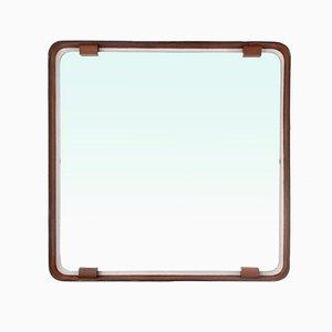 Specchio quadrato Mid-Century in pelle, anni '60