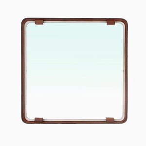Square Mid-Century Leather Mirror, 1960s