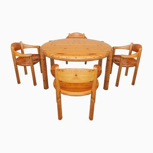 Tavolo da pranzo allungabile e quattro sedie di Rainer Daumiller per Hirtshals Sawmill, Danimarca, anni '60