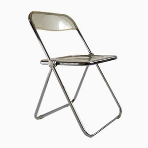 Mid-Century Italian Chrome & Lucite Plia Folding Chair by Giancarlo Piretti for Castelli