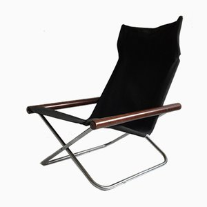 Mid-Century Japanese Black Canvas NY Folding Chair by Takeshi Nii for Jox Interni