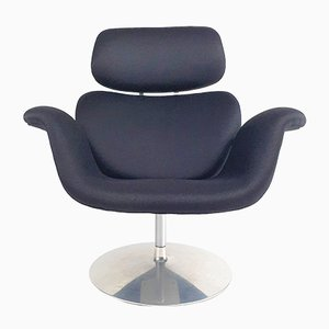 Large Black Tulip Lounge Chair by Pierre Paulin for Artifort, 1970s