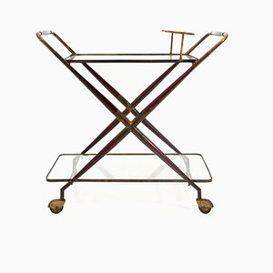 Mid-Century Wood, Brass & Glass Trolley, 1950s