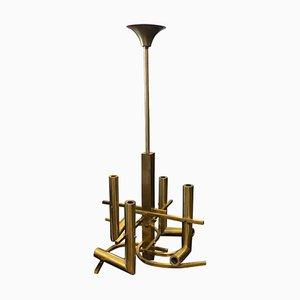 Lámpara de araña italiana Mid-Century de latón macizo de Gaetano Sciolari, años 60