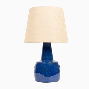 Lámpara de mesa danesa de cerámica azul de Maria Philippi para Søholm, años 60