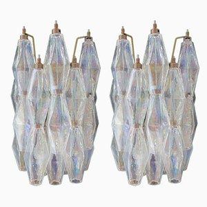 Apliques Poliedri italianos vintage de cristal de Murano iridiscente, 1979. Juego de 2