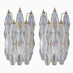 Vintage Italian Iridescent Murano Glass Poliedri Sconces, 1979, Set of 2