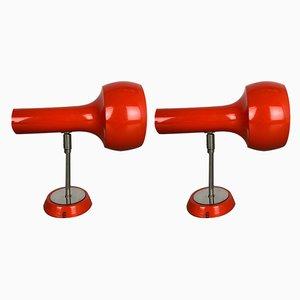 Rote schweizer Vintage Wandlampen von Schweizer Lampen International, 2er Set