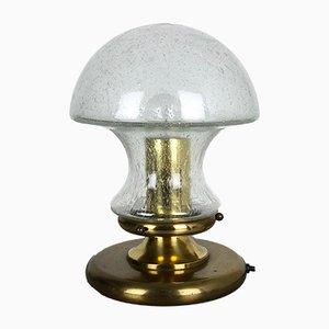 Lámpara de mesa hongo moderna alemana de vidrio y latón de Doria Leuchten, años 70