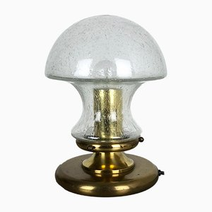 Modernist German Glass and Brass Mushroom Table Lamp from Doria Leuchten, 1970s