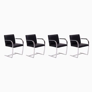 Brno Black Flat Bar Dining Chairs by Ludwig Mies van der Rohe for Knoll Inc. / Knoll International, 2000s, Set of 4