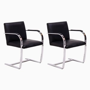 Brno Black Flat Bar Chairs by Ludwig Mies van der Rohe for Knoll Inc. / Knoll International, 2000s, Set of 2