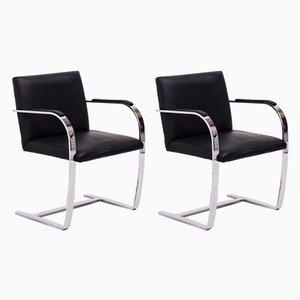 Sedie da bar Brno nere di Ludwig Mies van der Rohe per Knoll Inc. / Knoll International, inizio XXI secolo, set di 2