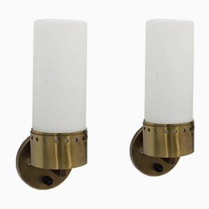 Brass & Opaline Glass Tubular Sconces, 1950s, Set of 2